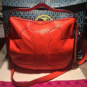 Tory Burch Orange Leather Amalie Adjustable Hobo